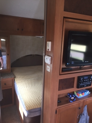 Bed in Camper 1 High Tide Trailer Rentals