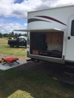 Outdoor cooking area of Camper 1 High Tide Trailer Rentals